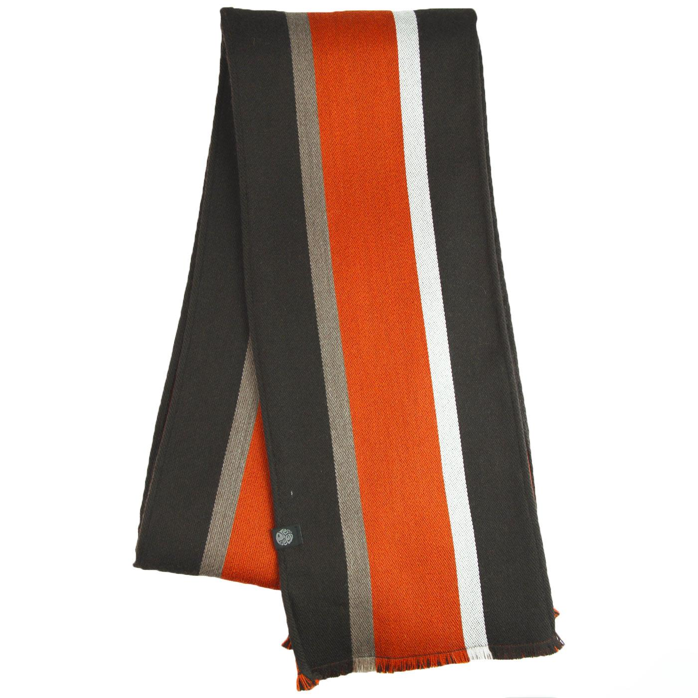 PRETTY GREEN Retro Mod Stripe College Scarf BROWN