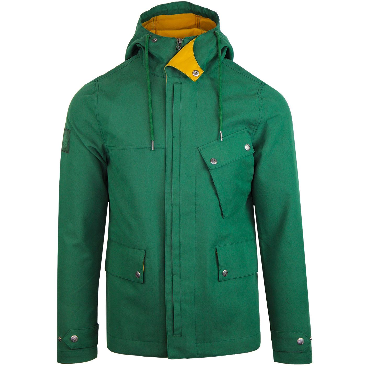 PRETTY GREEN Mod Contrast Trim Hooded Jacket GREEN