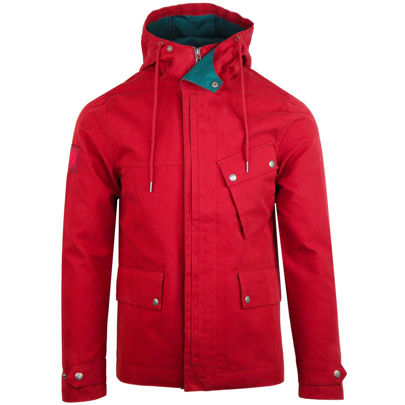 PRETTY GREEN Retro Contrast Trim Hooded Jacket RED