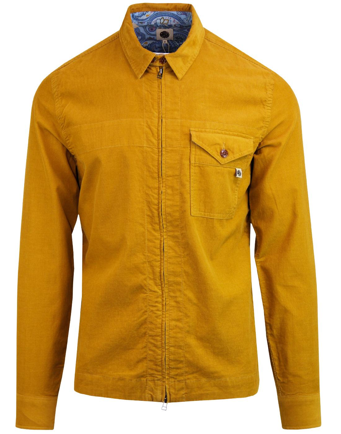 PRETTY GREEN Retro Mod Cord Zip Through Shirt (Y)