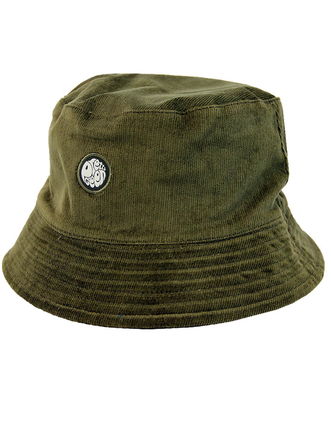 9c5d93033d68b3 PRETTY GREEN Reversible Paisley Retro Indie Bucket Hat in Khaki