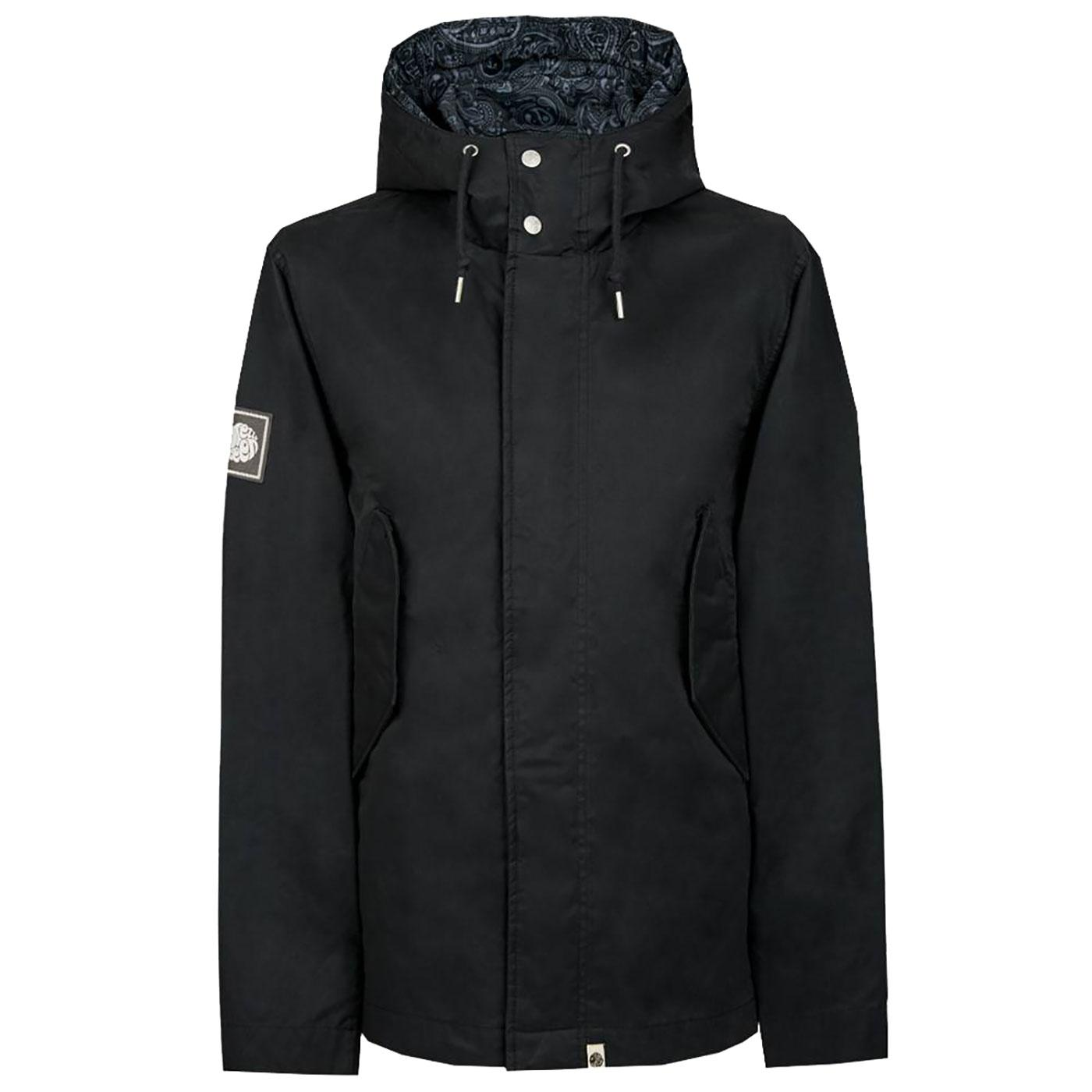 PRETTY GREEN Retro Mod Hooded Cotton Jacket BLACK