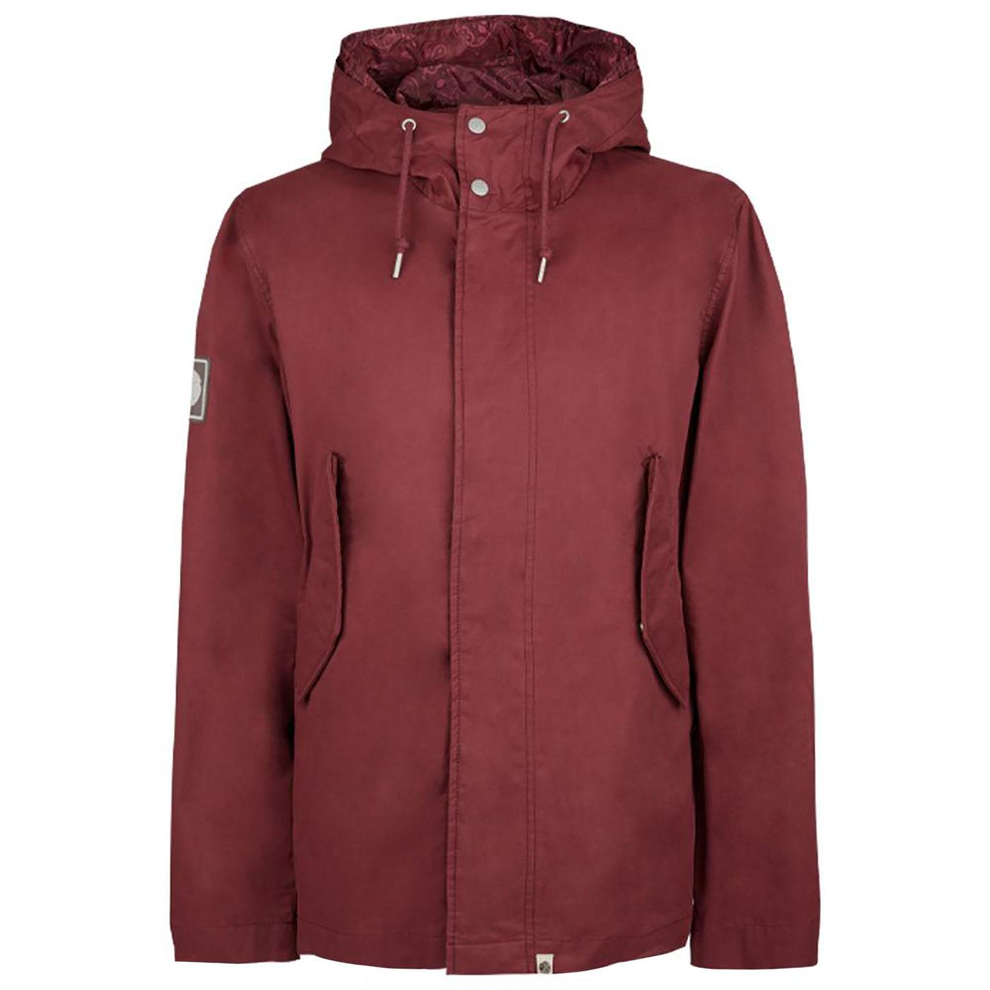 PRETTY GREEN Retro Mod Hooded Cotton Jacket RED