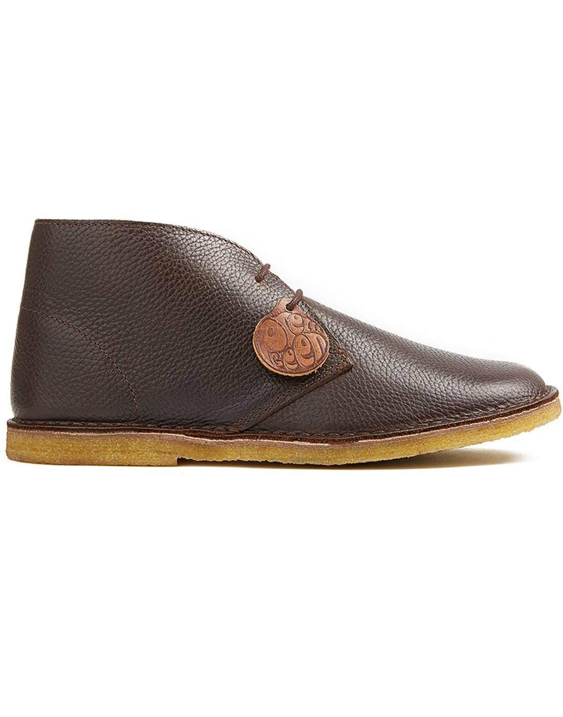 PRETTY GREEN Retro Mod Leather Desert Boots Brown