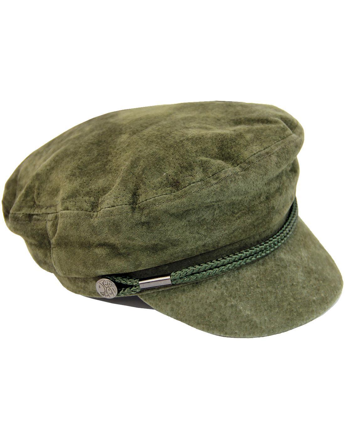 PRETTY GREEN Retro Suede Lennon Beatles Hat in Khaki 00fa8606abf