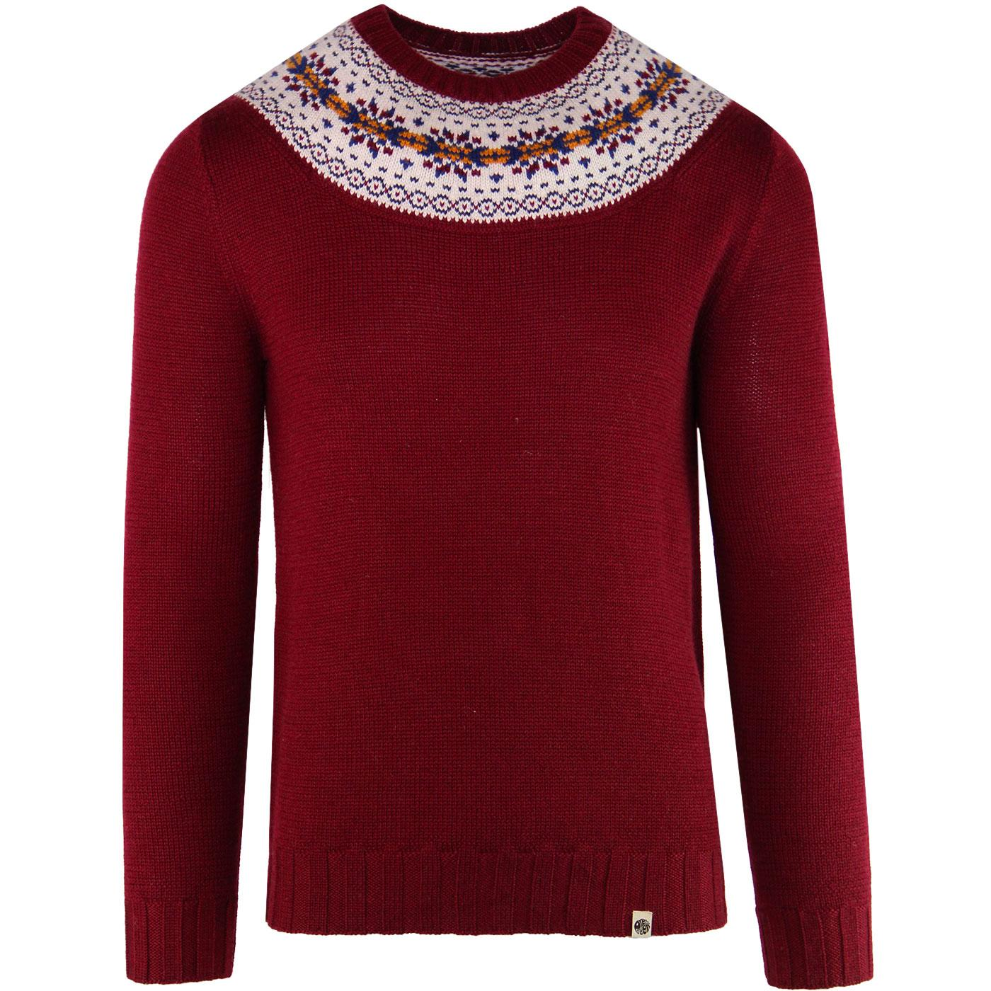 9629e8c7ac575 PRETTY GREEN Retro 70 s Knitted Fair Isle Jumper in Red