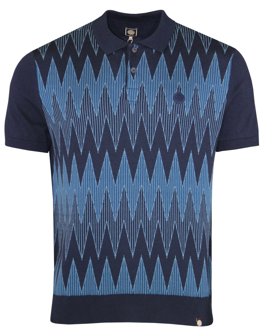 Drifter PRETTY GREEN Mod Radio Wave Knit Polo NAVY