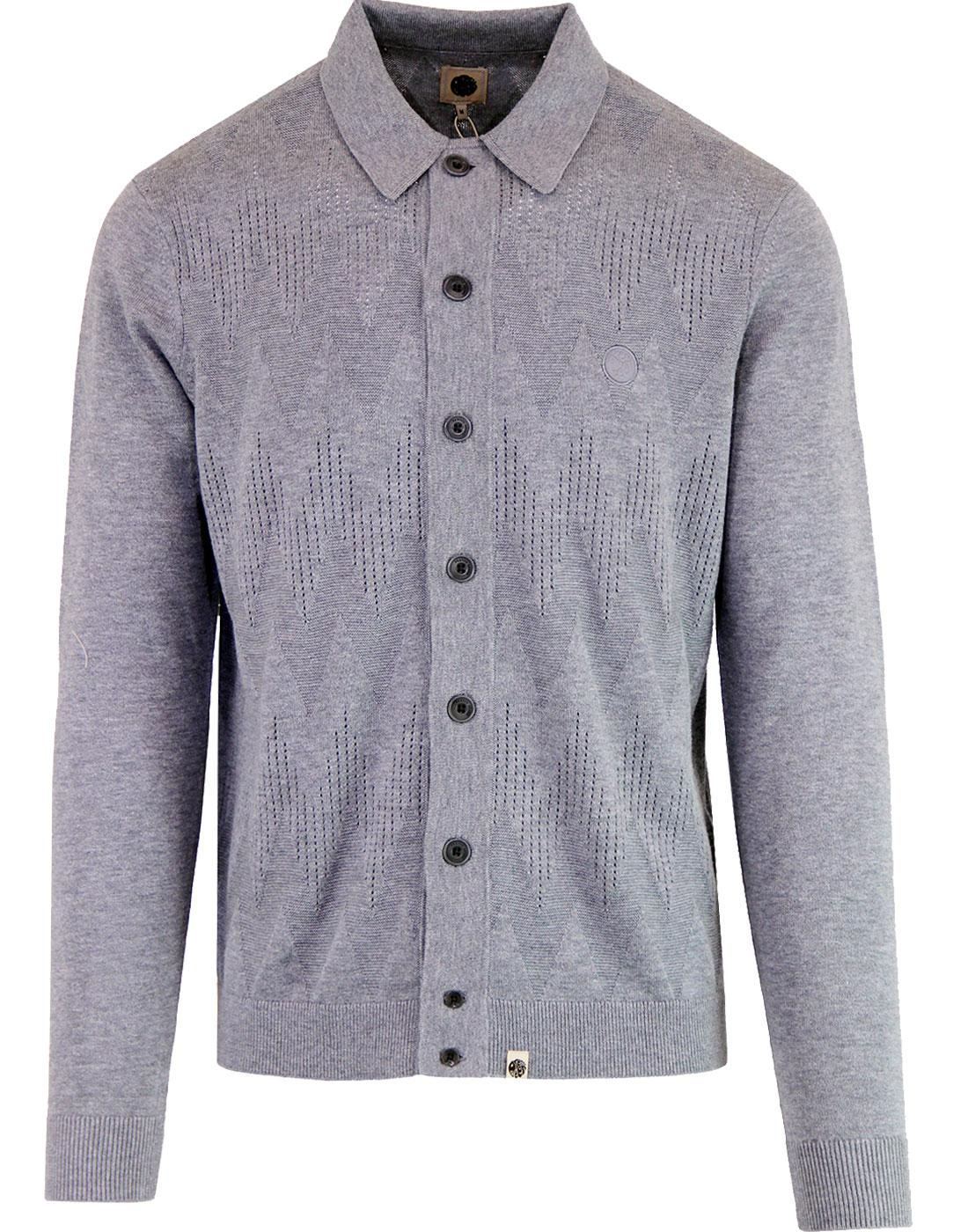 PRETTY GREEN 1960's Mod Tonal Wave Cardigan GREY