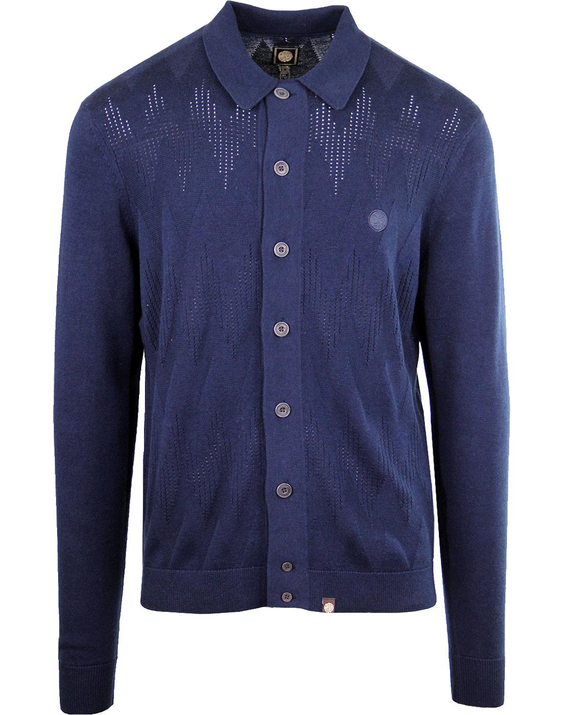 PRETTY GREEN 1960's Mod Tonal Wave Cardigan NAVY