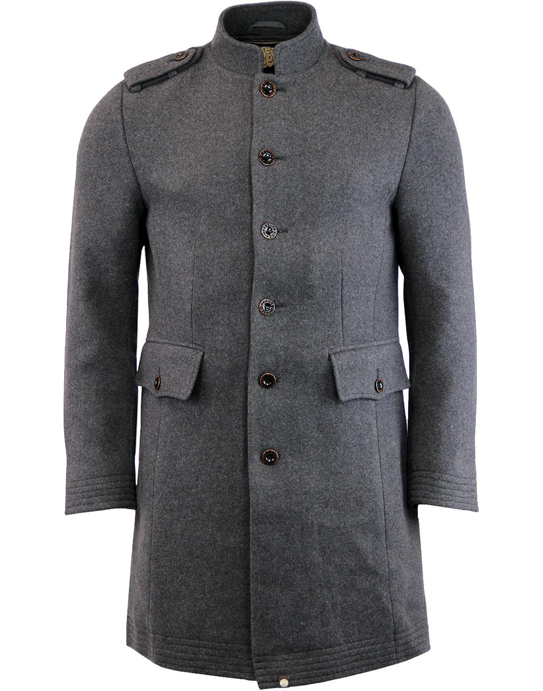 Hampton PRETTY GREEN 60s Mandarin Collar Wool Coat