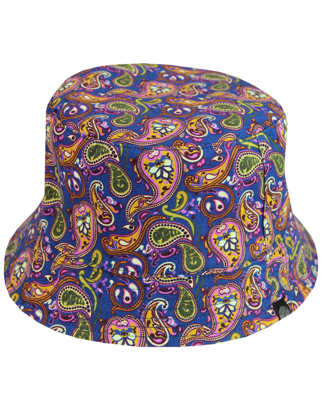 PRETTY GREEN Retro Paisley Reversible Bucket Hat