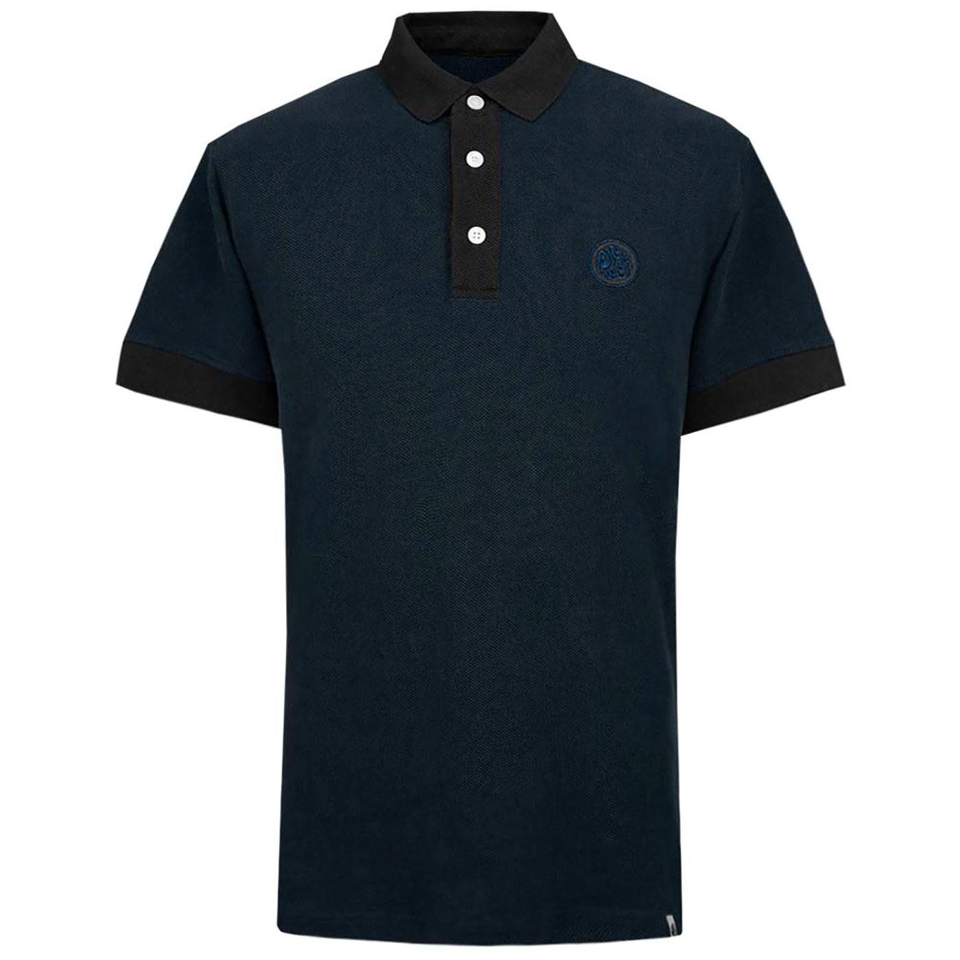 PRETTY GREEN 1960s Heavyweight Pique Polo Shirt BL