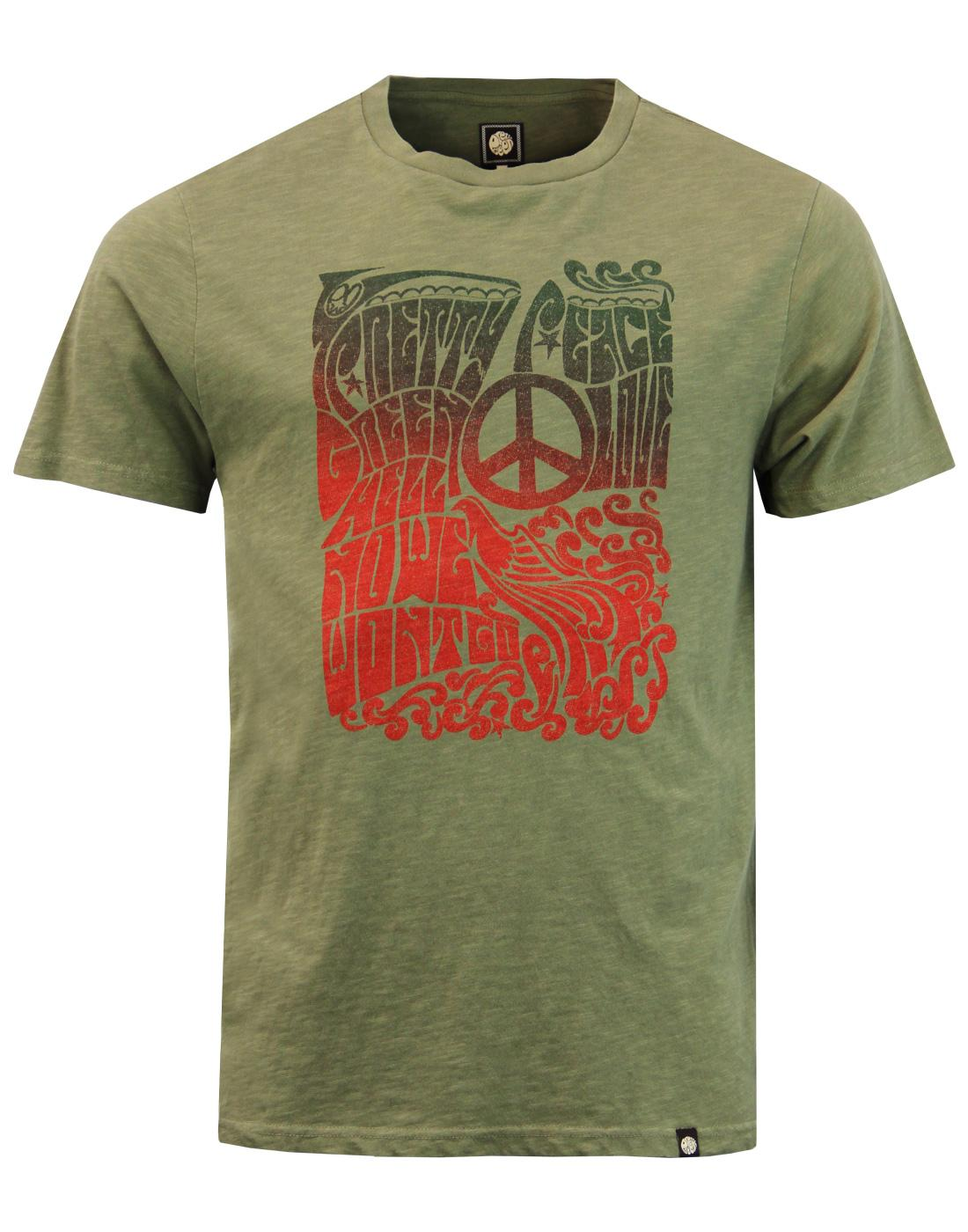 Hell No PRETTY GREEN Retro 1960s Peace Poster Tee