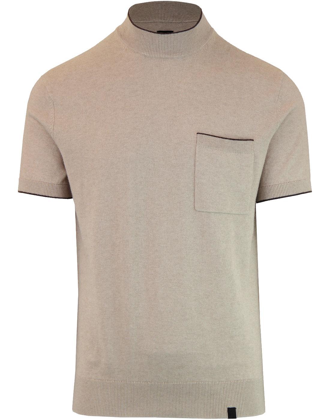 PRETTY GREEN Retro Mod High Neck Knitted T-Shirt