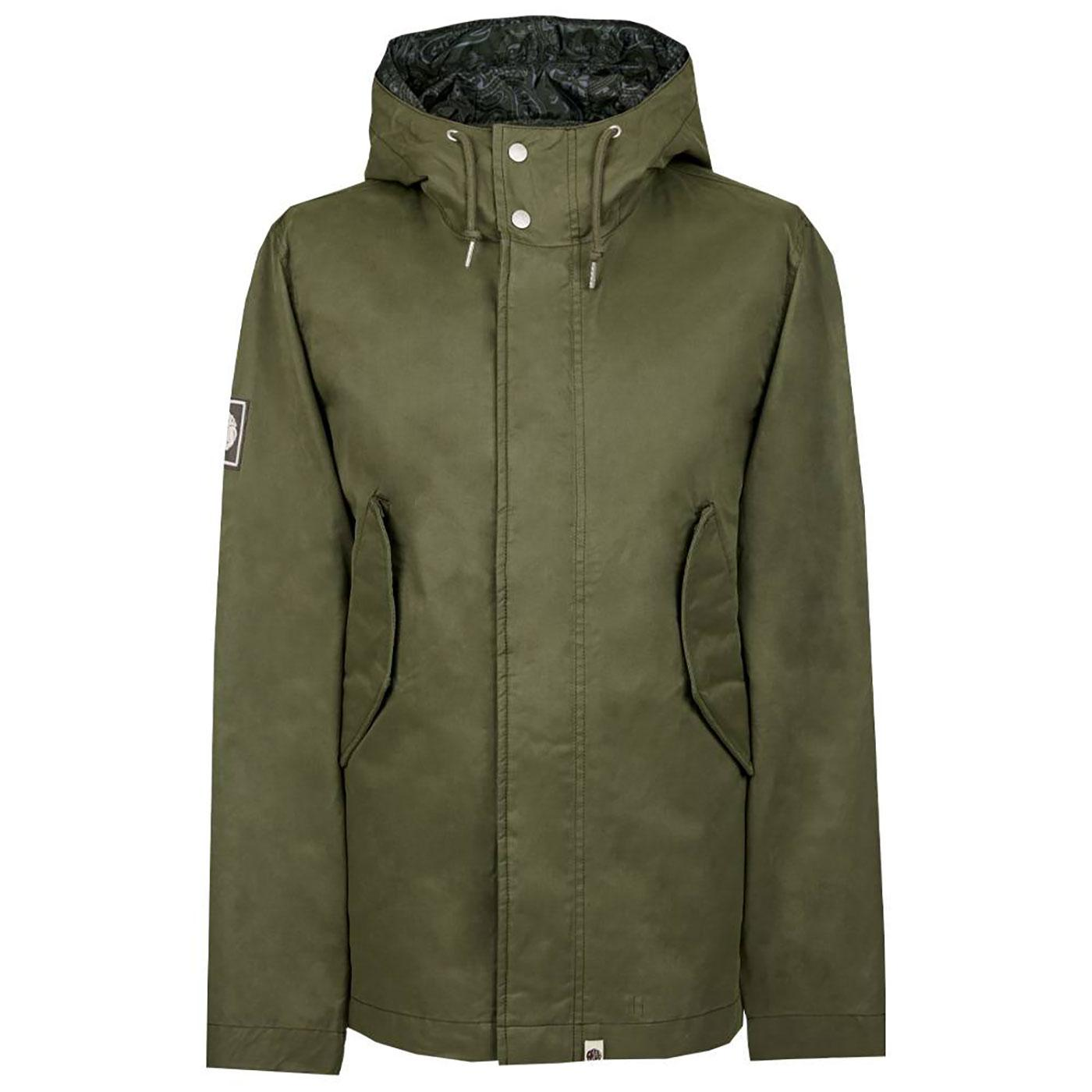 PRETTY GREEN Retro Mod Hooded Cotton Jacket GREEN