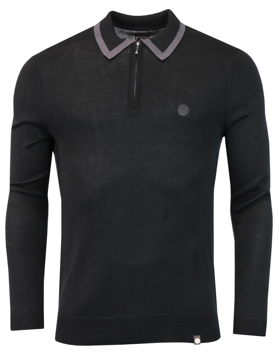 Broxwood PRETTY GREEN Zip Neck Tipped Knitted Polo