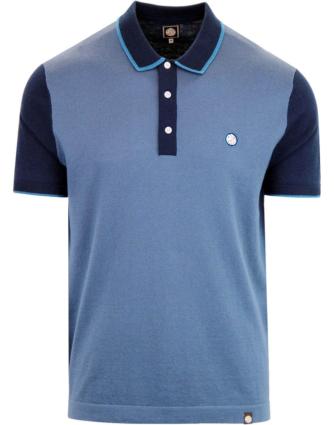PRETTY GREEN Mod Contrast Panel Knitted Polo Bl
