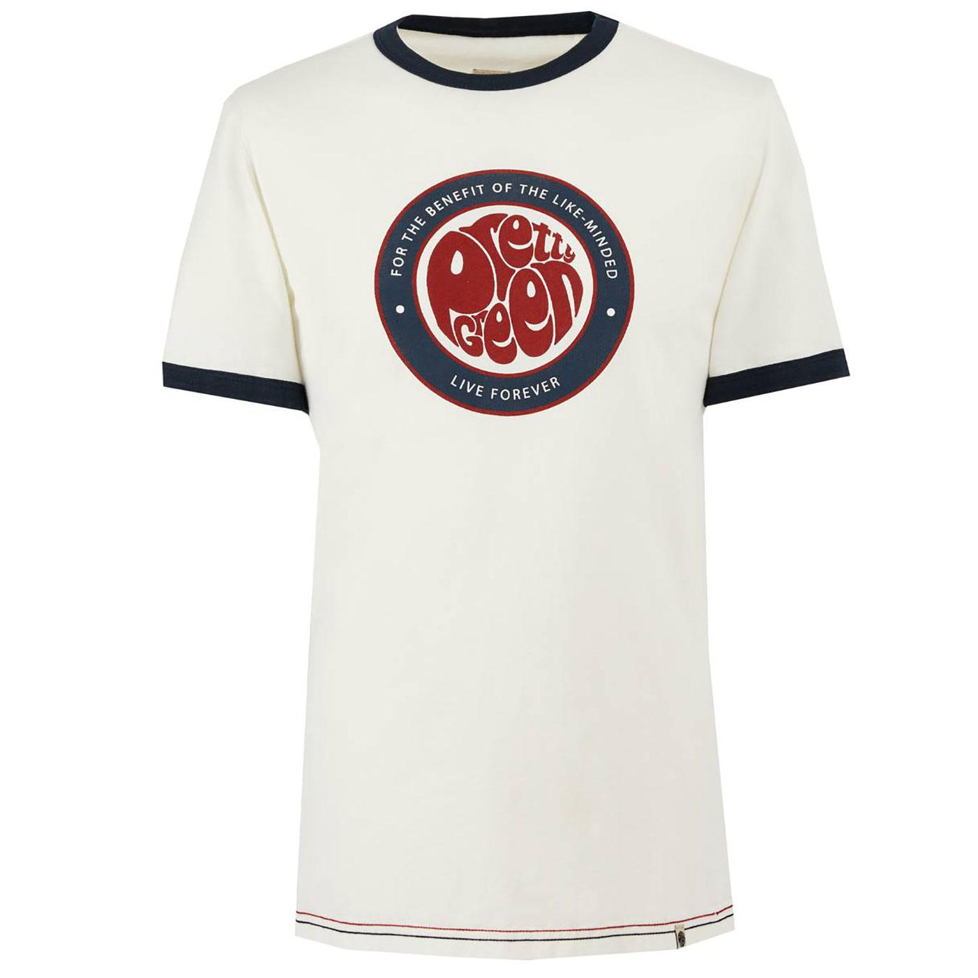 PRETTY GREEN Like Minded Mod Logo Ringer T-Shirt W