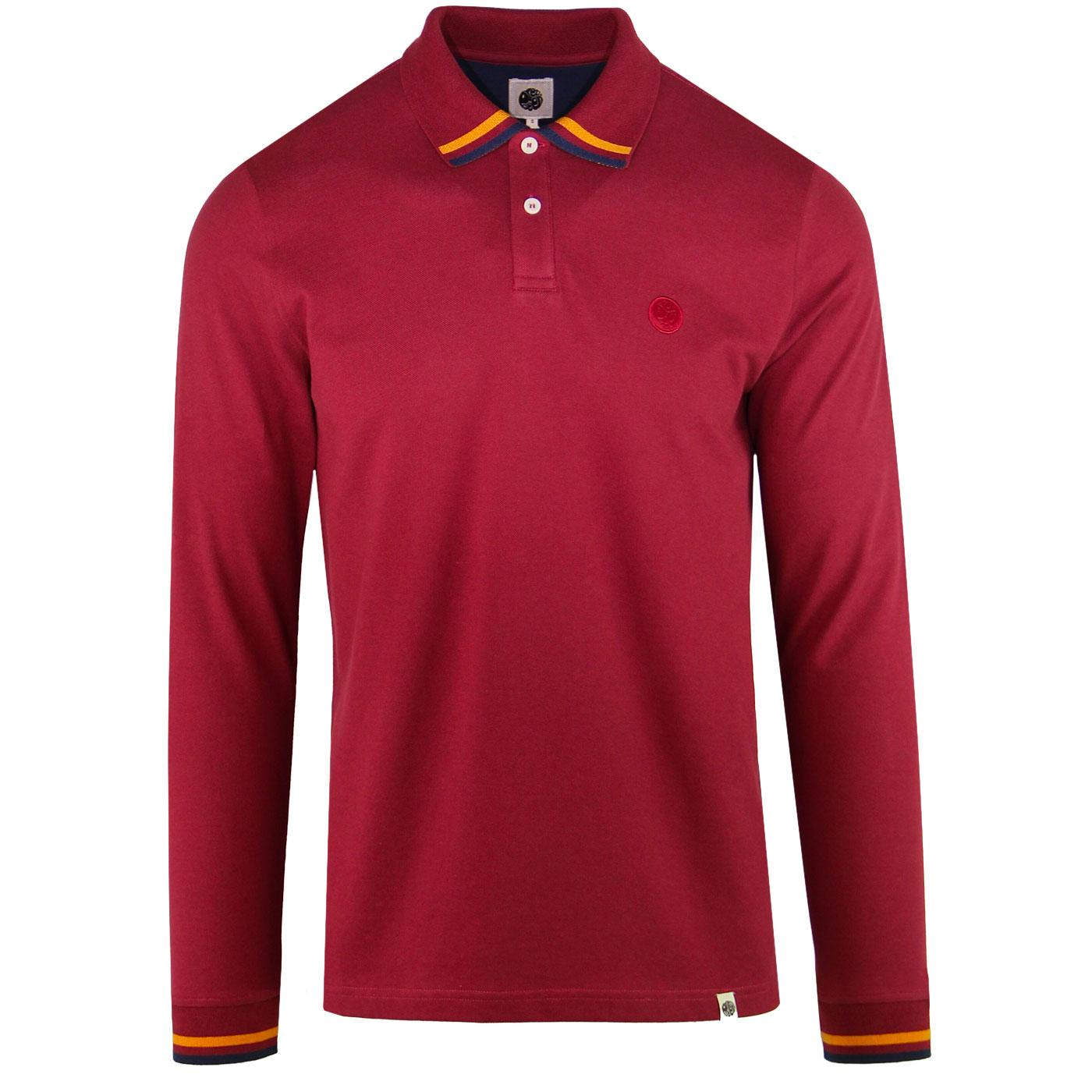 PRETTY GREEN Tipped Long Sleeve Mod Polo Shirt RED