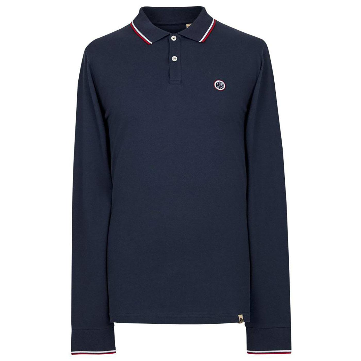 PRETTY GREEN Long Sleeve Twin Tipped Pique Polo N