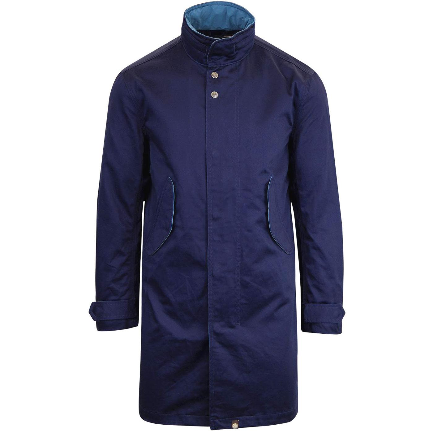 Maddox PRETTY GREEN Retro Mod Hooded Mac Coat (N)
