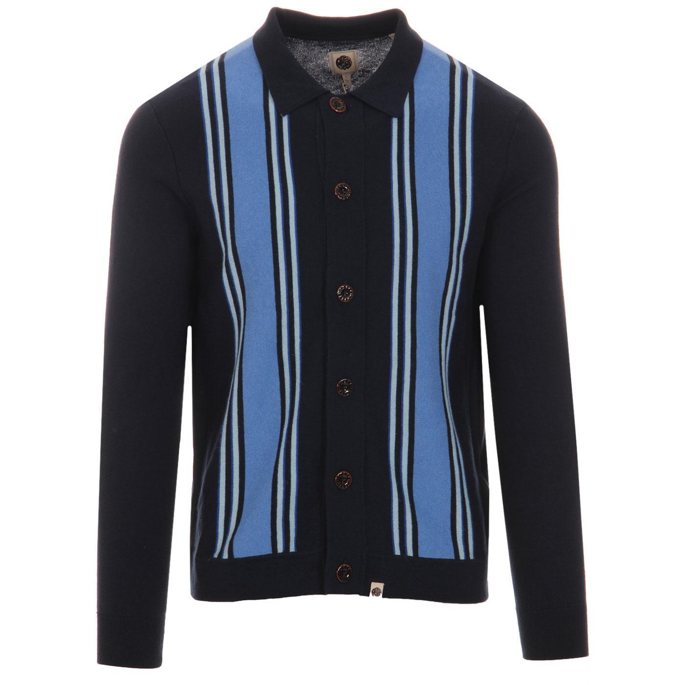 Bingham PRETTY GREEN Mod Stripe Knit Polo Cardigan