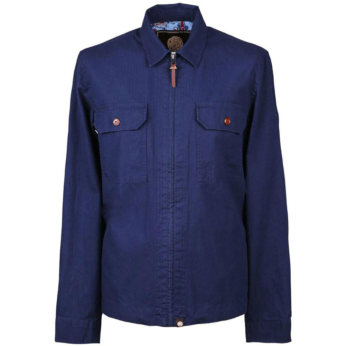 PRETTY GREEN Zip Through Button Pocket Overshirt