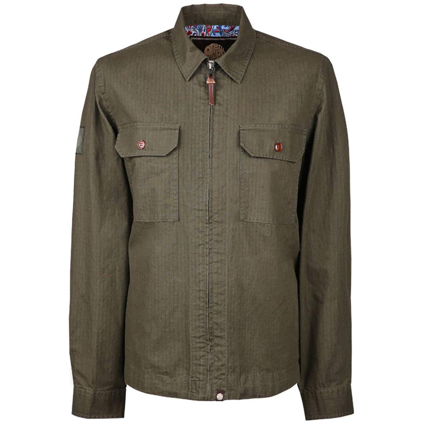 PRETTY GREEN Zip Through Button Pocket Overshirt K