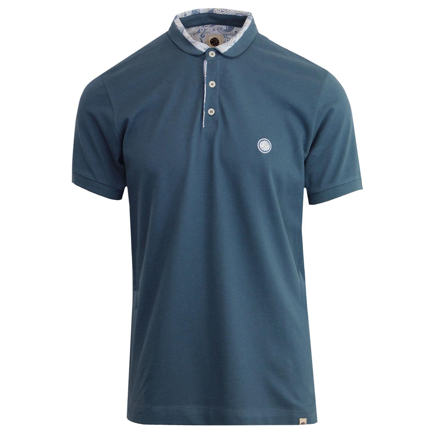 Carver PRETTY GREEN Paisley Trim Pique Polo Top B