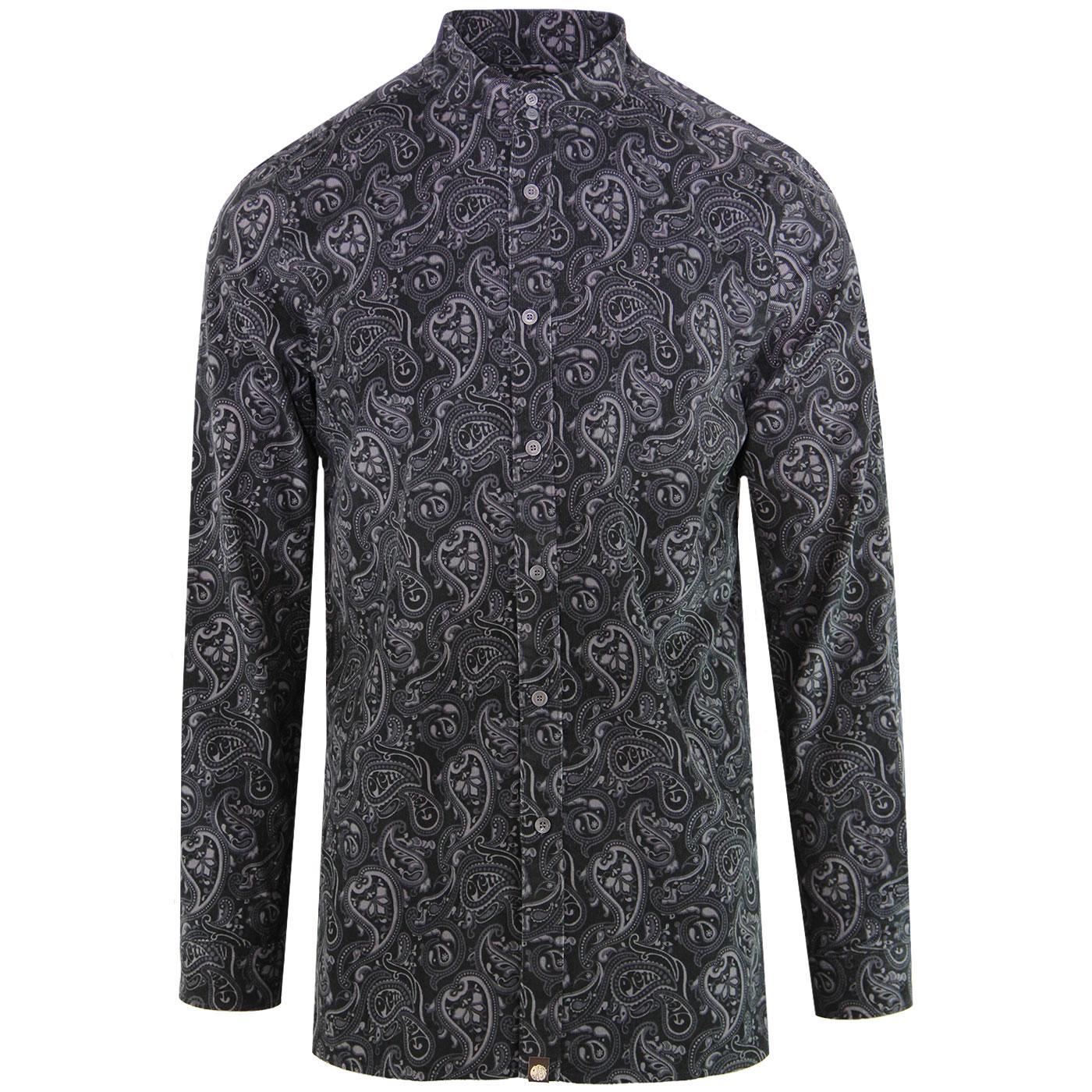 PRETTY GREEN 60s Mod Paisley Cord Kaftan Shirt (B)