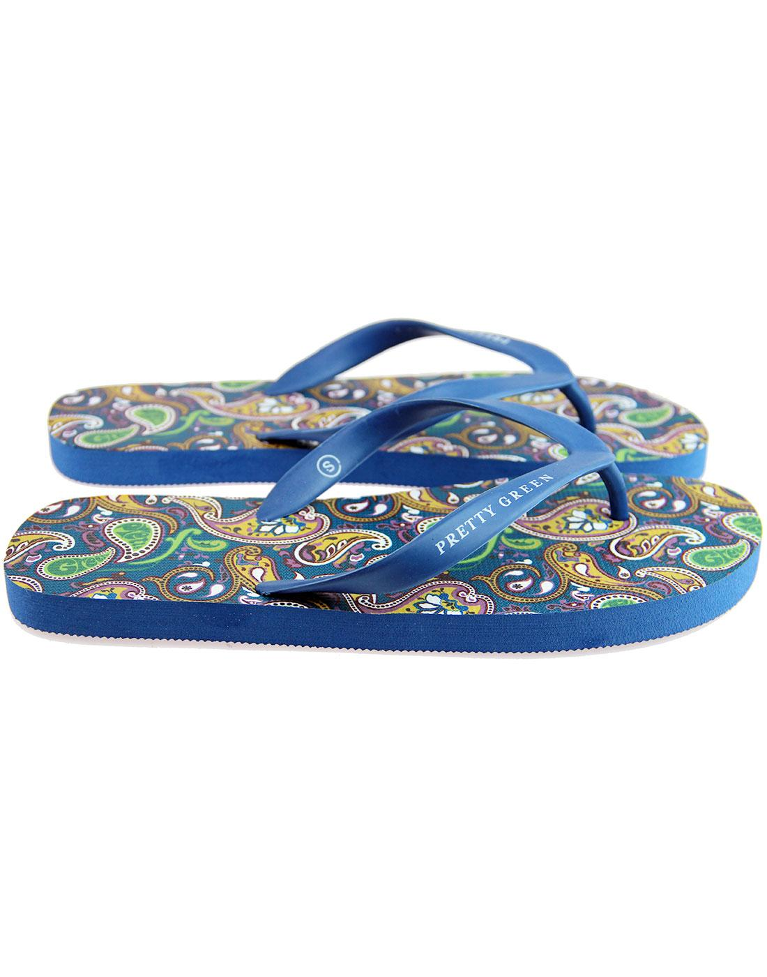 0d51a5ebd PRETTY GREEN Signature 1960 s Paisley Flip Flops in Blue