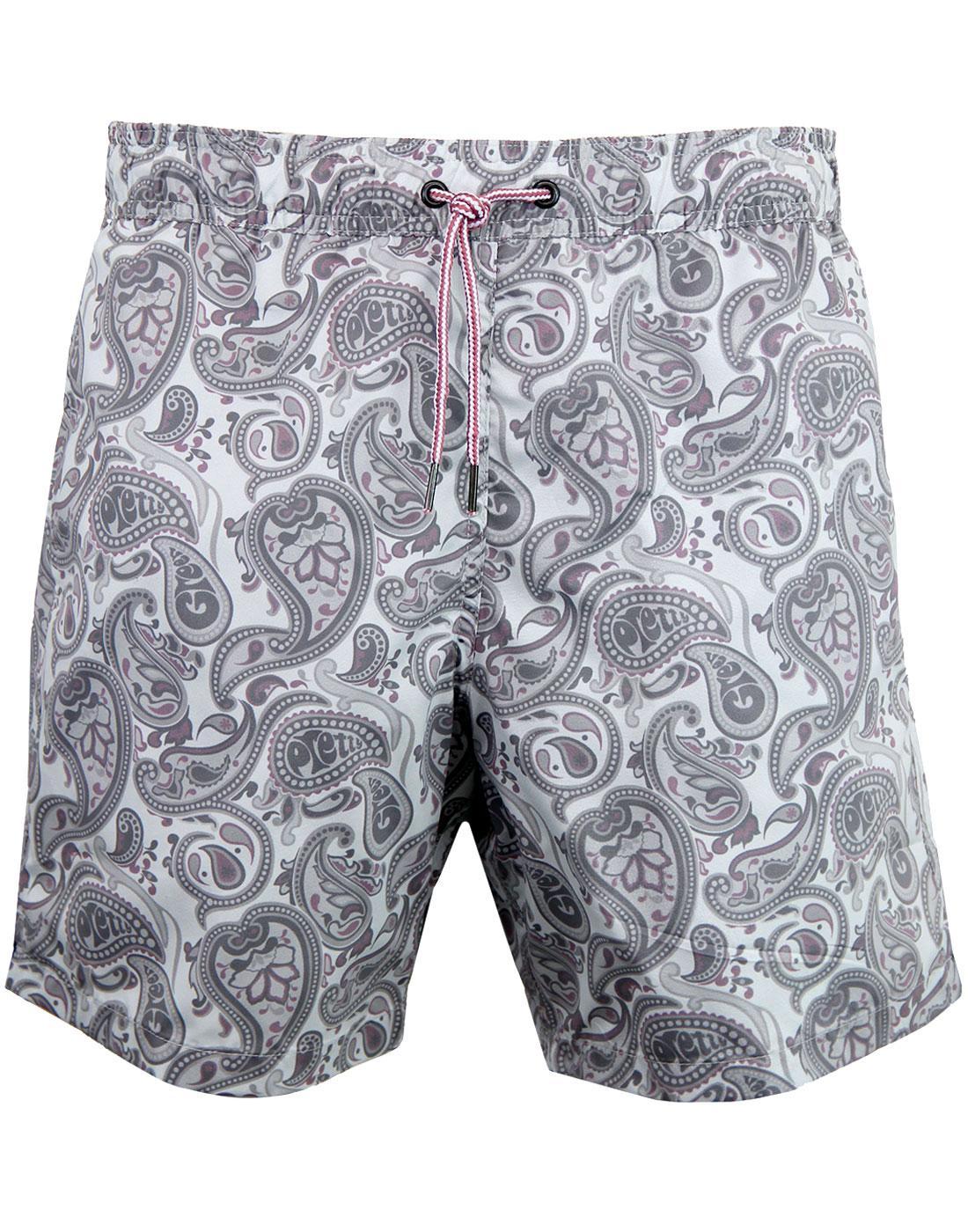 PRETTY GREEN Signature Paisley Swim Shorts - Grey