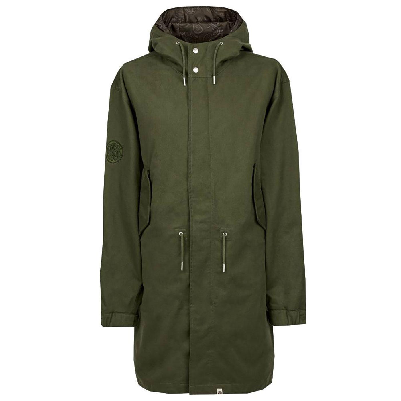 PRETTY GREEN Retro Mod Cotton Hooded Parka Jacket