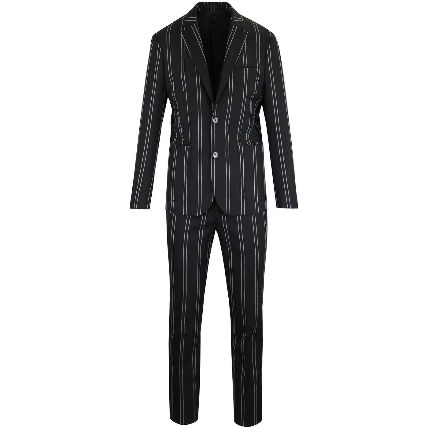 PRETTY GREEN Black Label Pin Stripe Mod Suit