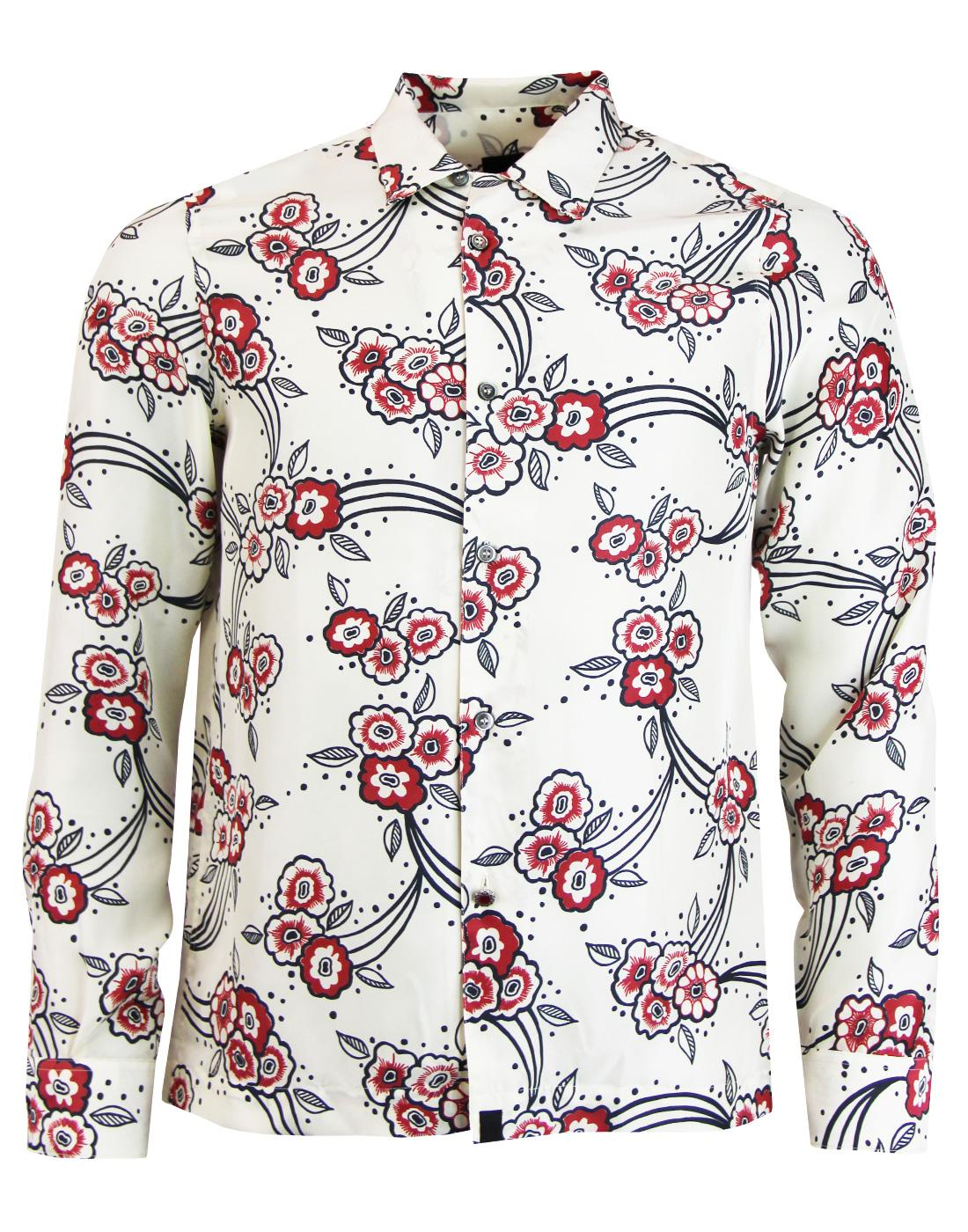 ade3a8ad PRETTY GREEN Piper Retro 60s Mod Floyd Floral Silk Shirt in Stone