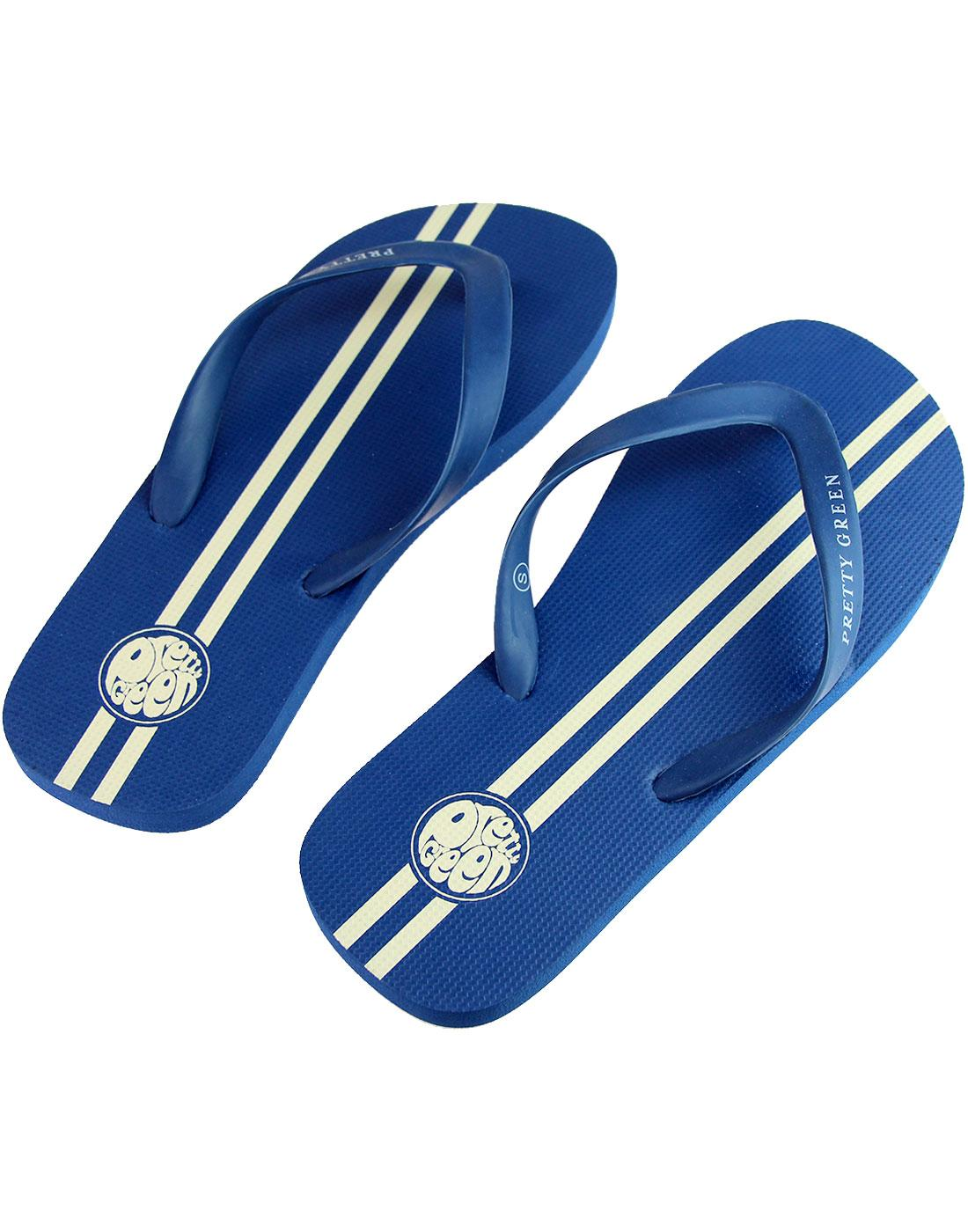 PRETTY GREEN Retro Mod Racing Stripe Flip Flops