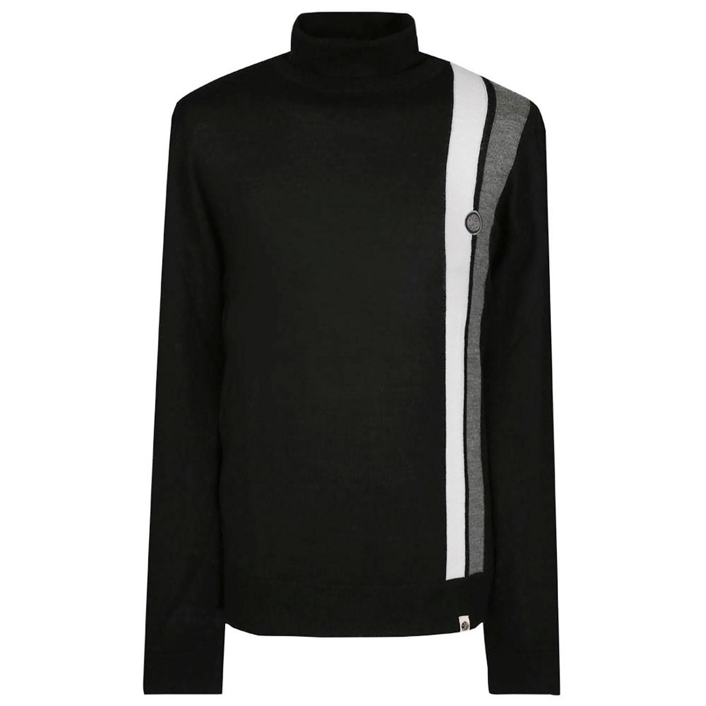 PRETTY GREEN Mod Racing Stripe Roll Neck Jumper