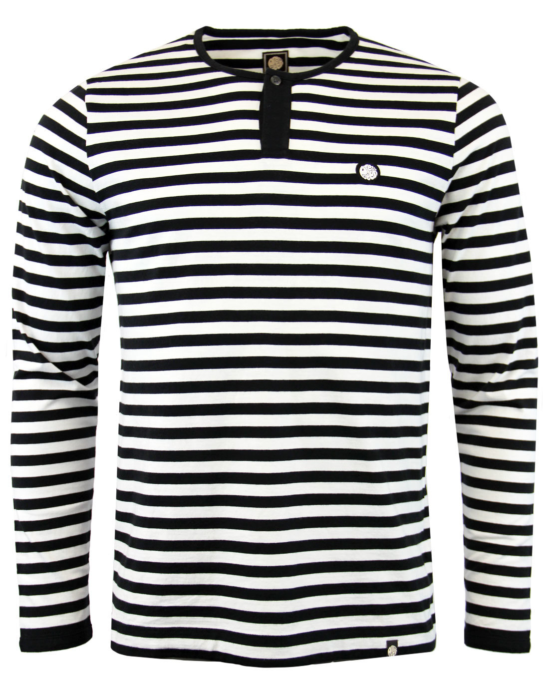 b227c4d1df167 PRETTY GREEN Redmond Retro Indie Mod Stripe Grandad T-Shirt Black