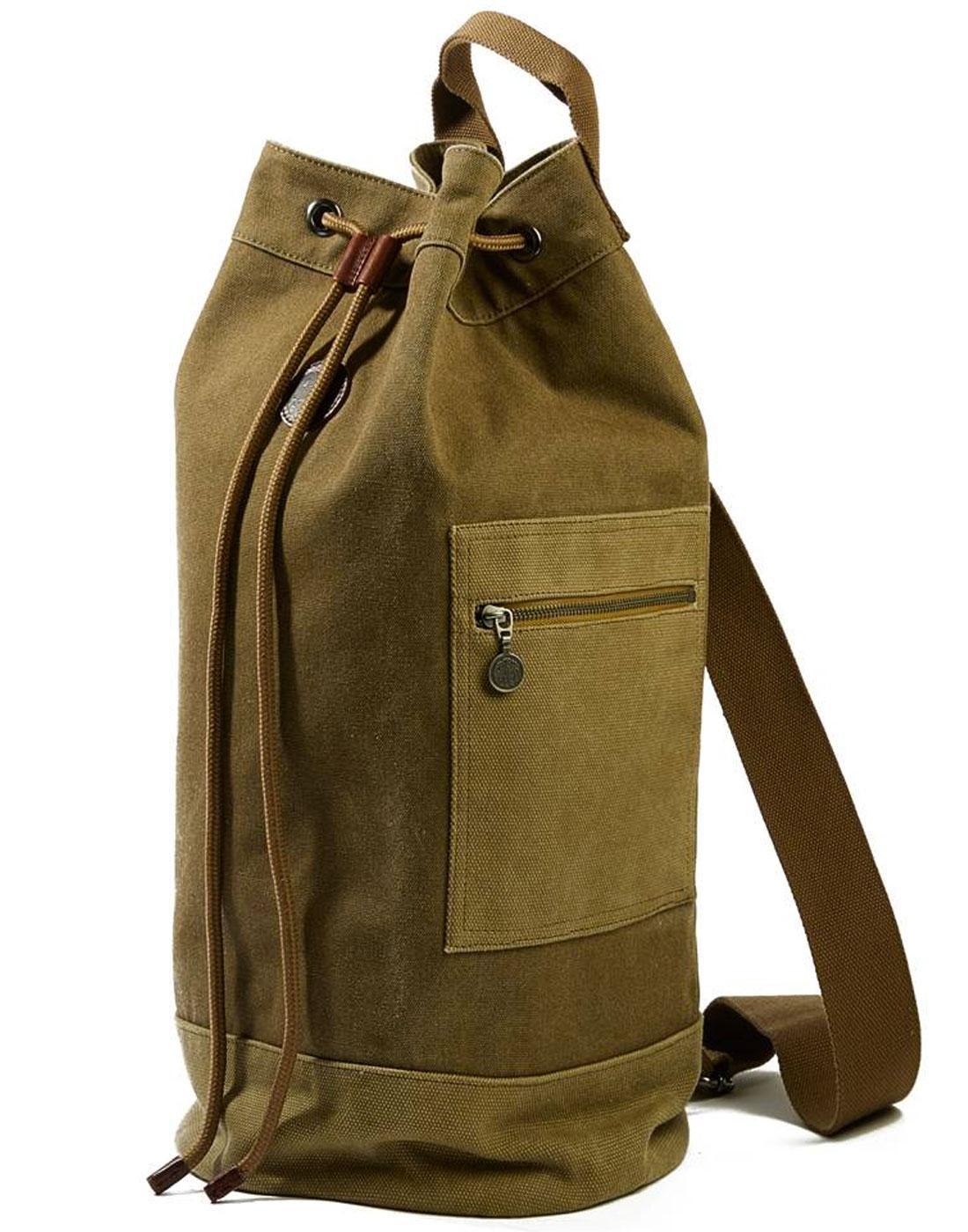 PRETTY GREEN Retro 70s Military Canvas Duffle Bag