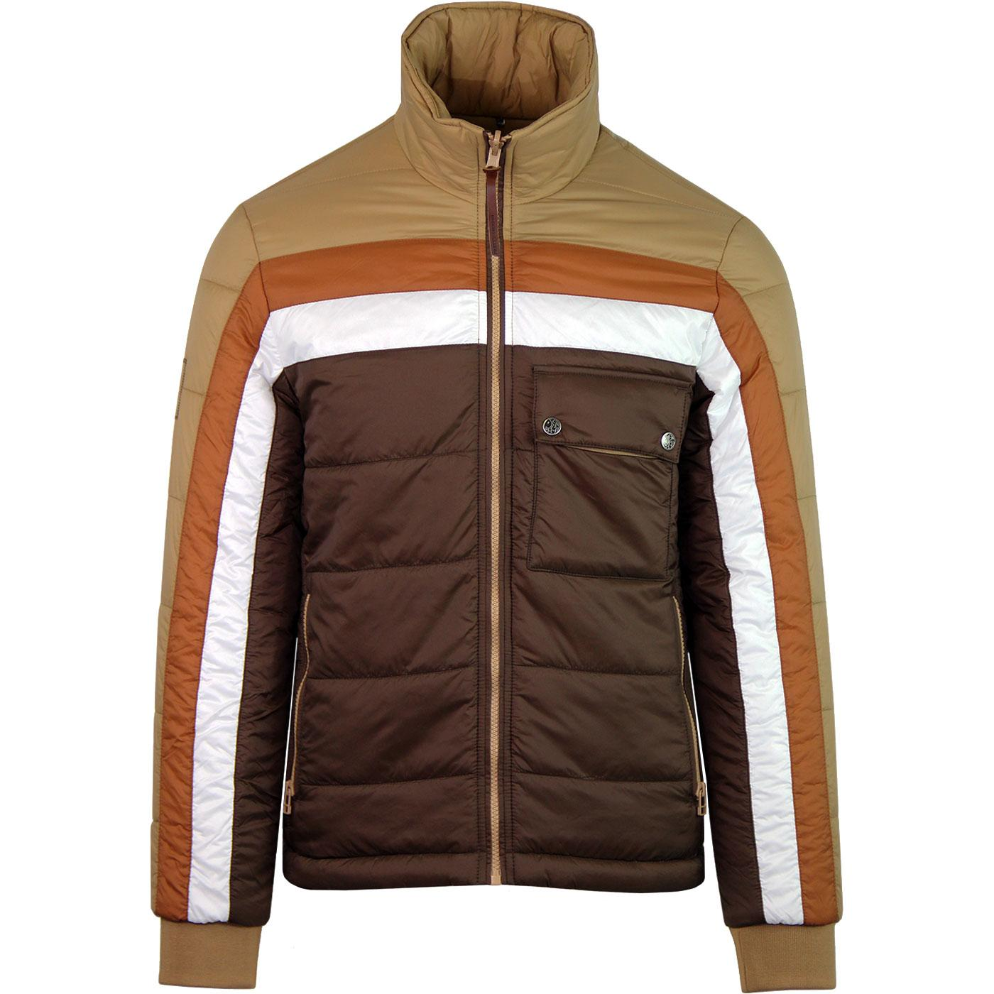 PRETTY GREEN Reversible Quilted Panel Jacket SAND