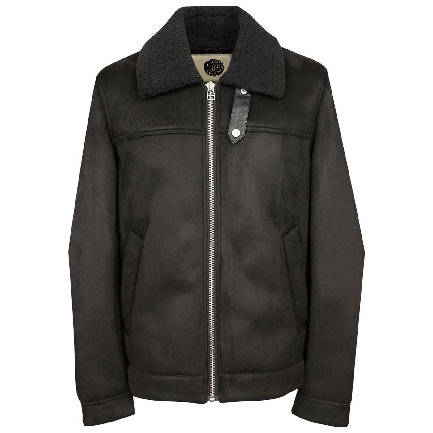 PRETTY GREEN Retro Faux Shearling Flight Jacket B