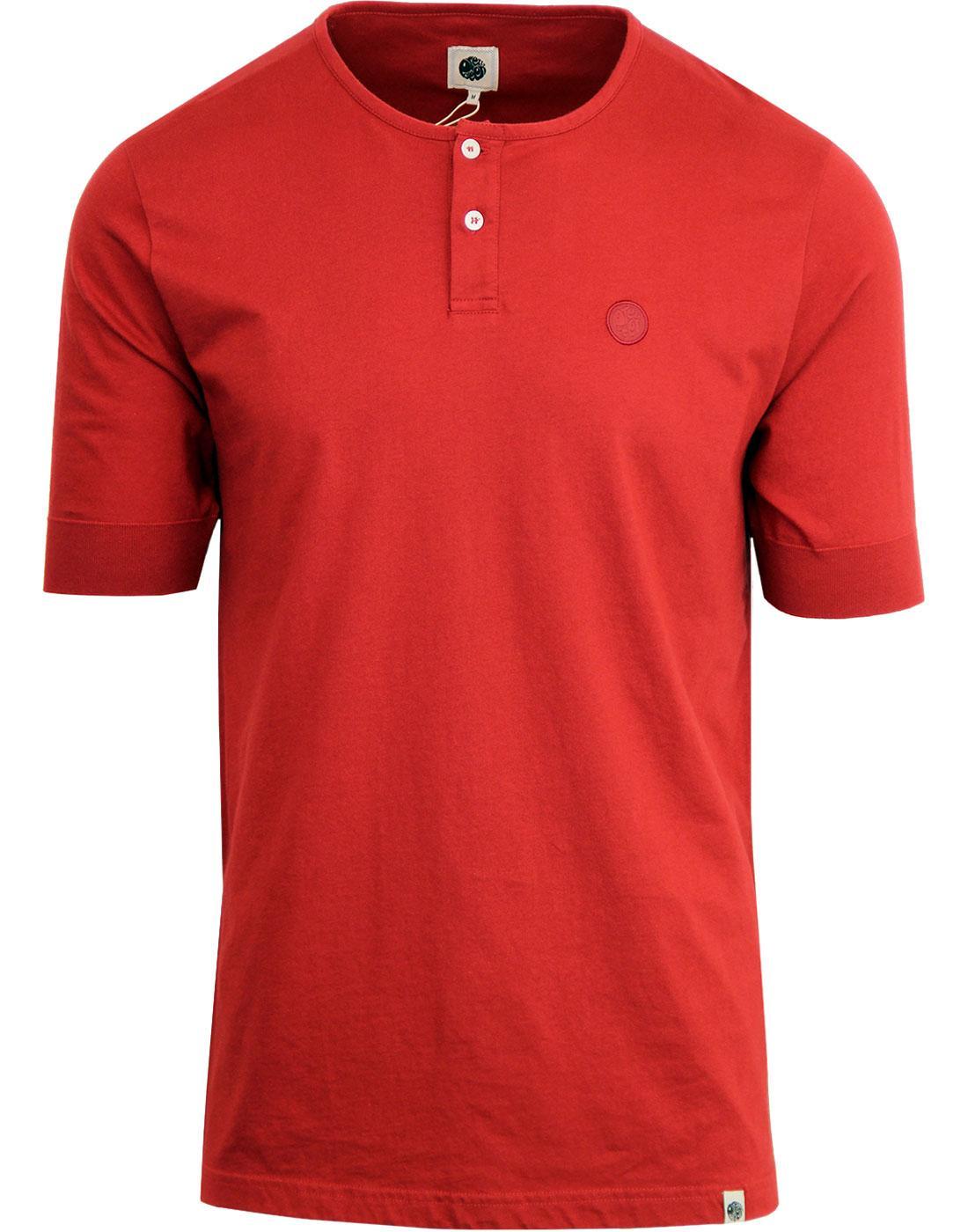 PRETTY GREEN Retro 60's Grandad Collar T-Shirt RED