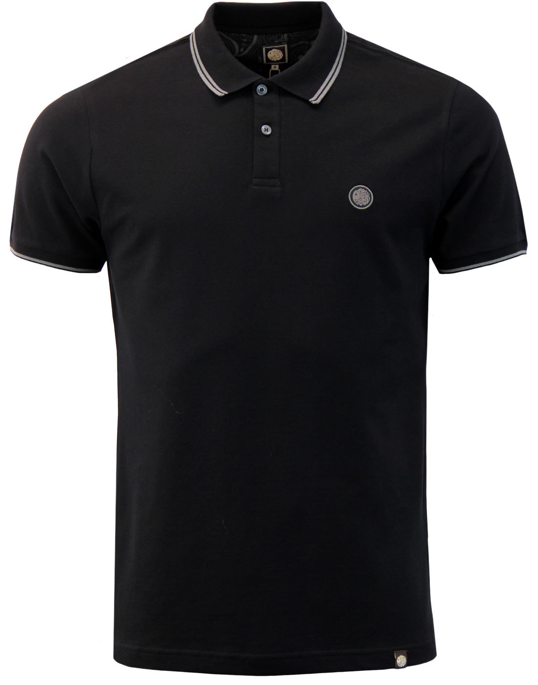 PRETTY GREEN Barton Mod Tipped Pique Polo (Black)