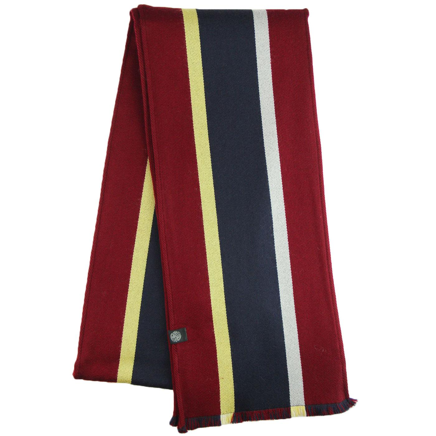 PRETTY GREEN Retro Mod Stripe College Scarf NAVY