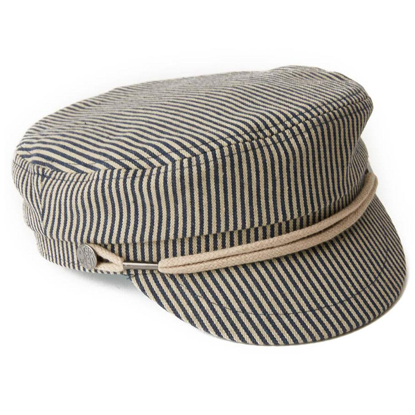 PRETTY GREEN Mod Striped Denim Lennon Newsboy Hat