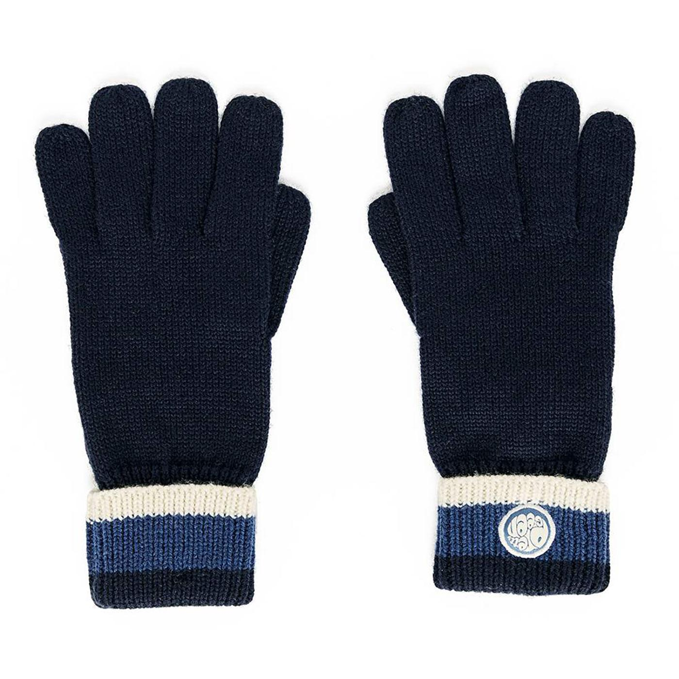 PRETTY GREEN Retro Stripe Knitted Wool Gloves