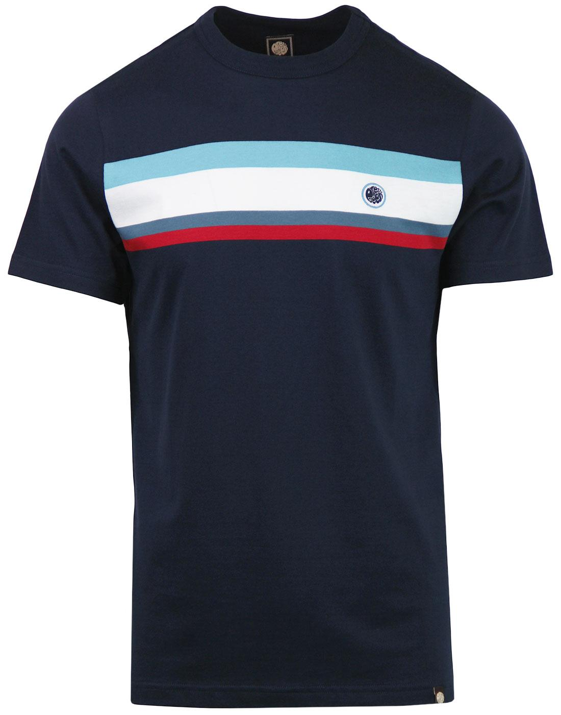Brydon PRETTY GREEN Retro 90s Mod Panel Tee NAVY