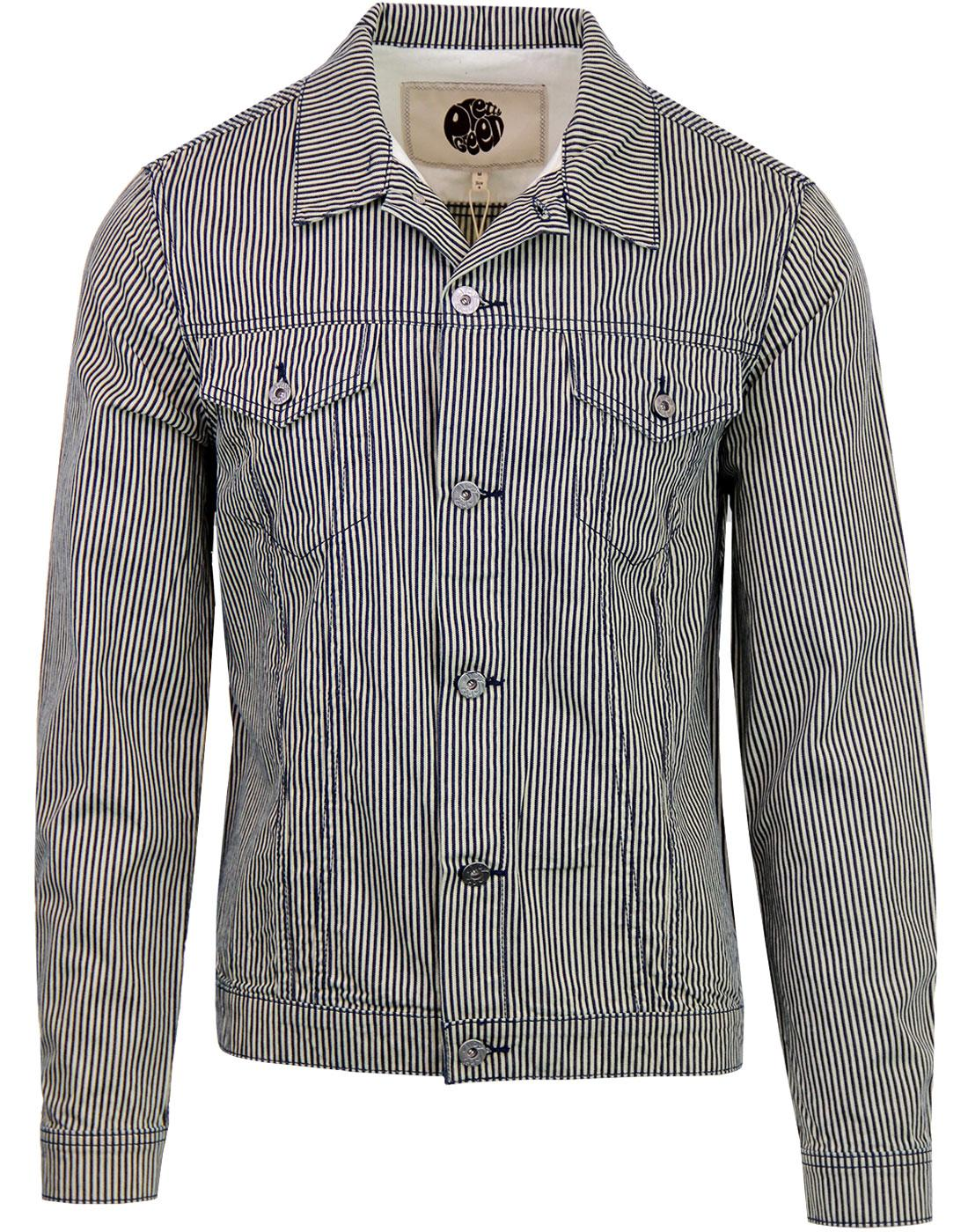 PRETTY GREEN 60's Denim Stripe Trucker Jacket