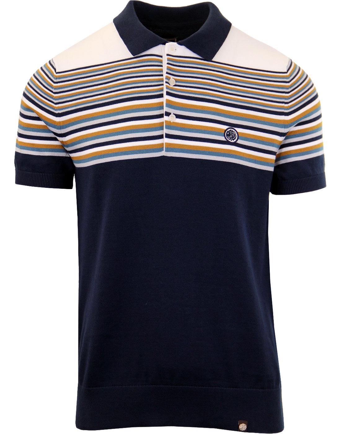 PRETTY GREEN Retro Mod Multi Stripe Knitted Polo