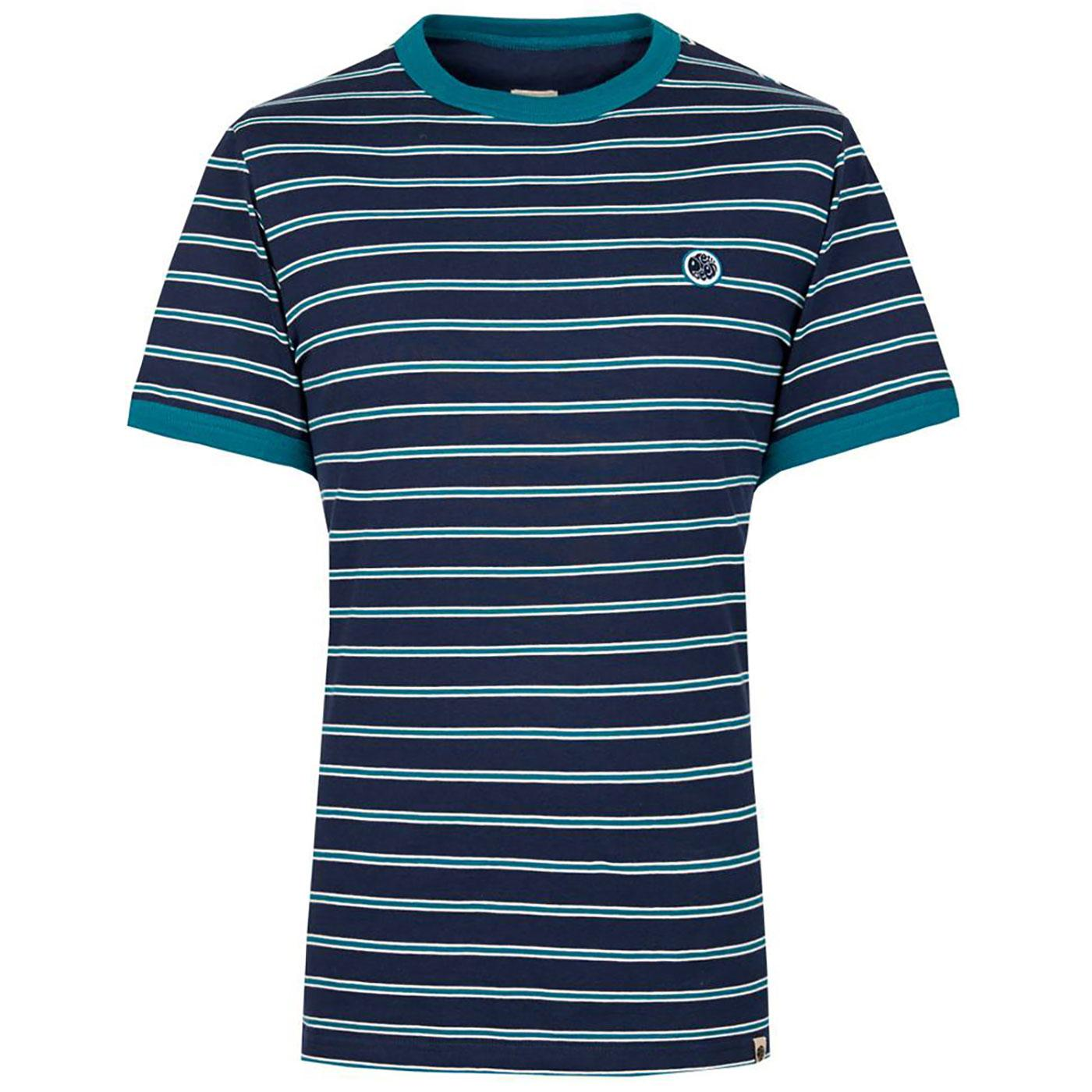 PRETTY GREEN Retro Contrast Stripe Ringer Tee NAVY